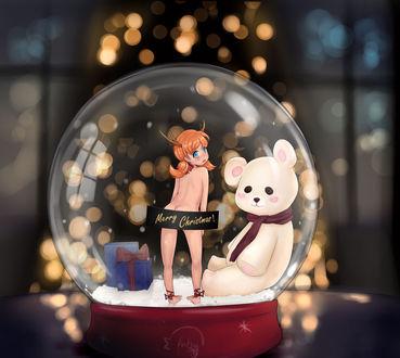 Фото Обнаженная рыжеволосая девушка с рожками стоит на снегу возле мягкой игрушки медведя и синего подарка в хрустальном шаре (Merry Christmas / Веселого Рождества), by n-nyatrix