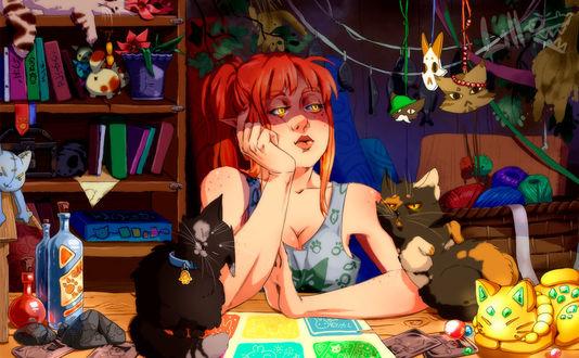 Фото Рыжеволосая девушка-эльфийка на фоне котов, by Lillkun