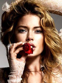 Фото Нидерландская супермодель Doutzen Kroes / Даутцен Крус с розой во рту