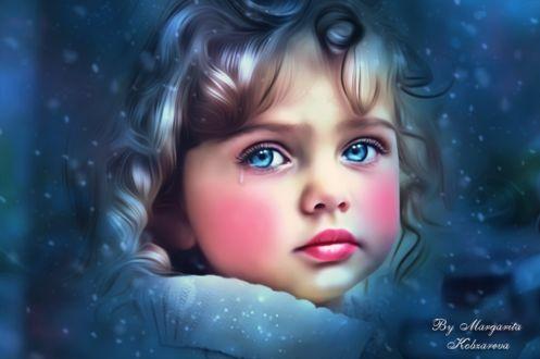 Фото Портрет грустной голубоглазой девочки со слезой на лице под падающим снегом, by Margarita Kobzareva
