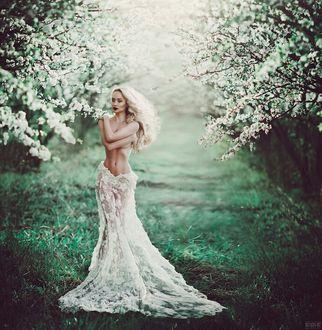 Фото Полуобнаженная девушка стоит на фоне цветущих весенних деревьев, фотограф Светлана Беляева