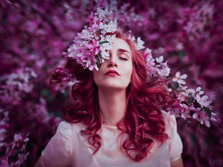Фото Девушка с весенними цветами у лица, фотограф Светлана Беляева