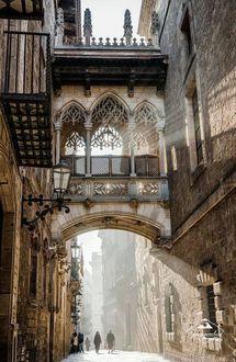 Фото Готический квартал – центральная и самая старинная часть Старого города Барселоны, Испания!