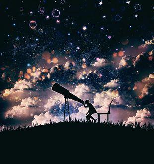Фото Парень смотрит в телескоп, by harada miyuki