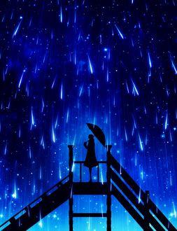 Фото Силуэт девушки, стоящей под метеоритным дождем, by harada miyuki