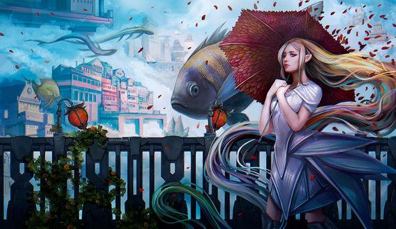 Фото Девушка - эльф с зонтом стоит на фоне рыбы в небе, by dandelion-s