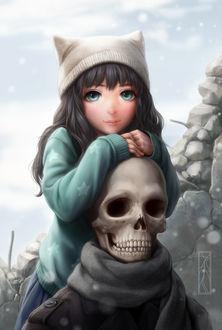 Фото Темноволосая девушка в шапке уперлась о череп скелета, by Kotikomori