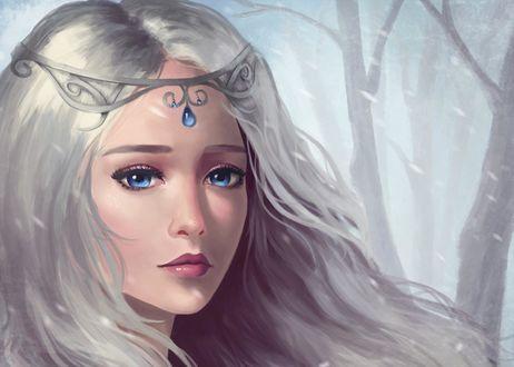 Фото Синеглазая девушка с серебристыми волосами в диадеме под снегопадом