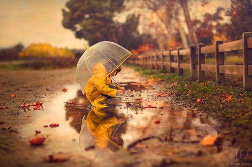 Фото Ребенок в желтом плаще с прозрачным зонтом сидит в луже на фоне природы, by Jessica Drossin