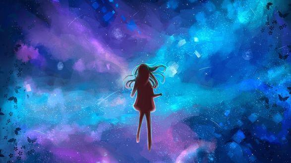 Фото Силуэт девушки на фоне фантастически красивого неба, by Gabrielle Ragusi