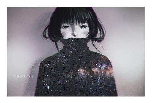 Фото Грустная девушка в свитере с космосом, by ririss