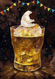 Фото Белый мишка сидит на кусочках льда в стакане лимонада