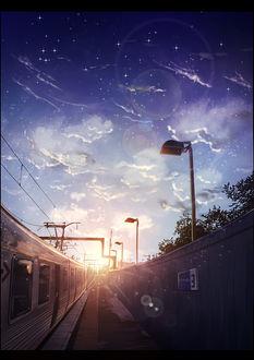 Фото Поезд под облачным небом