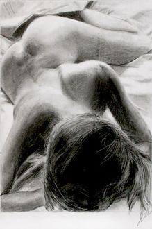 Фото Графика, обнаженная девушка в постели