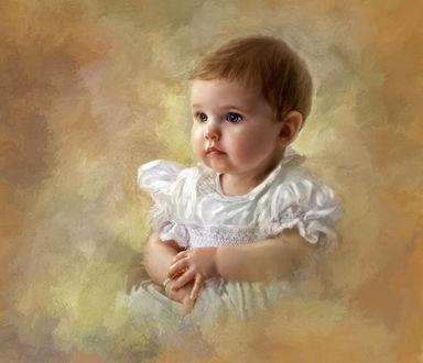 Фото Портрет маленькой девочки в белом платье, фотохудожник Richard Ramsey