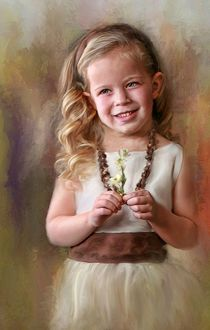 Фото Портрет улыбающейся девочки с цветком в руках, фотохудожник Richard Ramsey