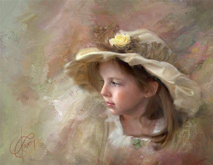 Фото Портрет девочки в шляпке с цветком, фотохудожник Richard Ramsey