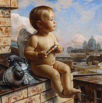 Фото Ребенок - ангелочек сидит на крыше дома и смотрит вдаль, рядом с ним голуби, by Slava Groshev