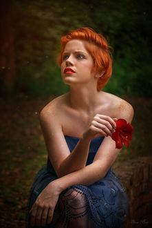 Фото Рыжеволосая девушка с веснушками на теле с красным цветком в руке на фоне природы, by Elena Boot