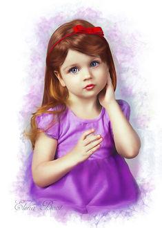 Фото Рыжеволосая девочка с голубыми глазами с бантом на волосах, by Elena Boot