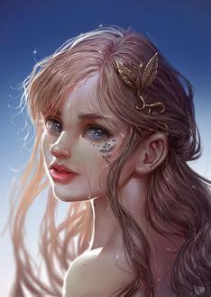 Фото Девушка с голубыми глазами и украшением на волосах, by Ilse Harting