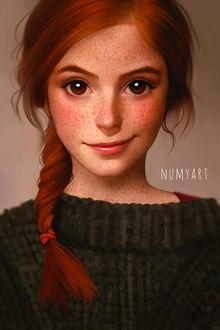 Фото Рыжеволосая девушка в веснушках, by Numyart