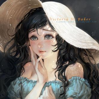 Фото Темноволосая девушка в шляпе, by Claparo-Sans