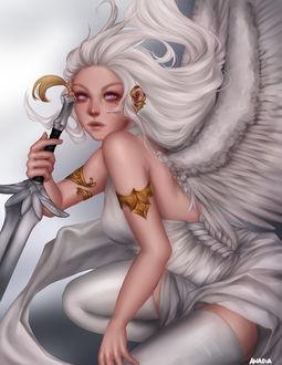 Фото Белокурая девушка-ангел с мечом в руке, by Anadia-Chan