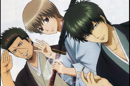 Фото Kondo Isao, Okita Sougo / Окита Соуго и Хиджиката / Hijikata Toshirou из аниме Гинтама / Gintama, by Hideaki Sorochi