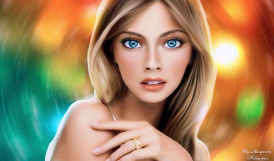 Фото Портрет светловолосой девушки с голубыми глазами, by Margarita Kobzareva (исходник топ - модель Constance Jablonski / Констанс Яблонски)