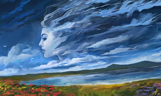 Фото Образ девушки в облаках, by LaurensSpruit