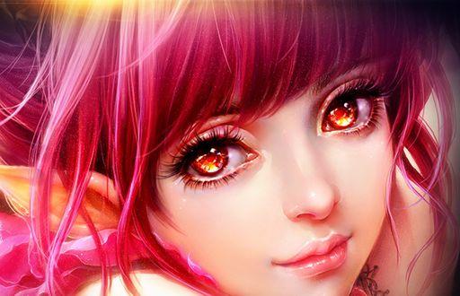 Фото Портрет девушки с розовыми волосами