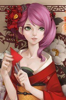 Фото Девушка с зелеными глазами с цветами на розовых волосах