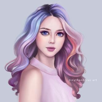 Фото Портрет голубоглазой девушки с разноцветными волосами, by Tiny Thanh Truc