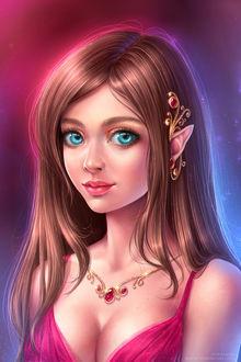 Фото Девушка с голубыми глазами, с украшениями, by Aniel AK