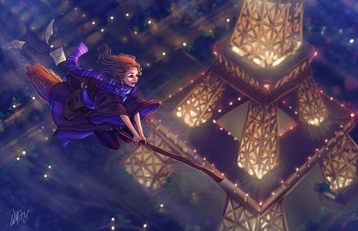 Фото Девушка-ведьма летит на метле над Парижем, by DreamerWhit