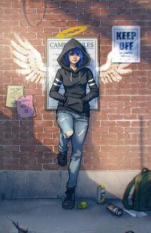 Фото Девушка прислонилась к стене, на которой нарисованы ангельские крылья и нимб, by DreamerWhit