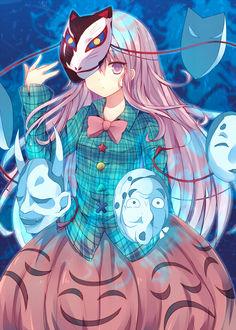 Фото Hata no Kokoro / Хата но Кокоро в окружении масок из игры Проект Восток / Touhou Project, art by Abandon Ranka