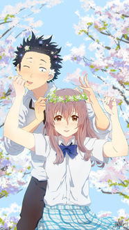 Фото Шоко Нишимия / Shouko Nishimiya и Шоя Ишида / Shouya Ishida из аниме Форма голоса / Koe no Katachi, by SteamyTomato