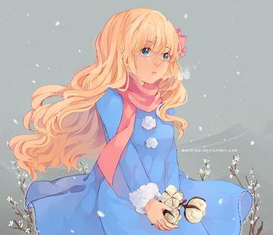 Фото Светловолосая девушка в голубом платье с цветами в руках, by Mochiaa