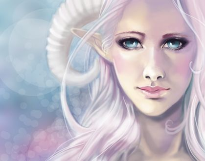 Фото Белокурая девушка-демон с голубыми глазами, by revois