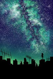 Фото Девушка стоит на крыше дома на фоне звездного неба, by Wandering-Minstrell