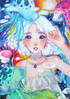 Фото Белокурая девушка под водой в окружении медуз, by MyzuCass