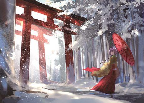 Фото Hieda no Akyuu / Хиеда но Акю с зонтом стоит у красных ворот торий зимой из игры Проект Восток / Touhou Project, art by Three K