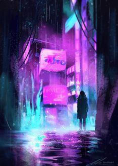 Фото Девушка стоит на улице ночного города
