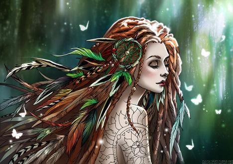 Фото Девушка с ловцом снов на волосах в окружении белых бабочек, by Zoratrix