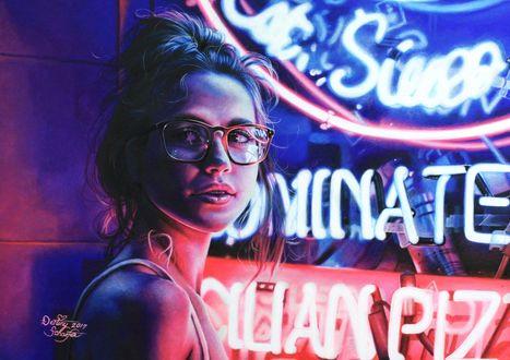 Фото Девушка у неоновой вывески, by straewefin