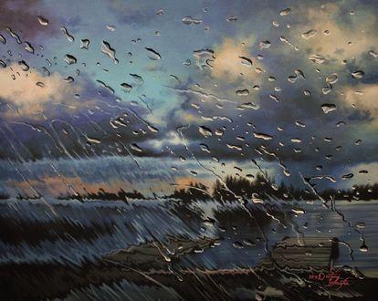 Фото Вид из окна на реку во время дождя, by straewefin