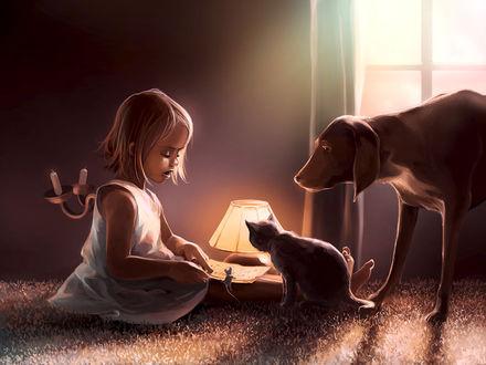 Фото Маленькая девочка читает книгу, рядом с ней мышонок, кошка и собака, by AquaSixio