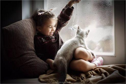 Фото Улыбающаяся девочка, сидящая на окне, играет с котенком. Фотограф Егор Брылев